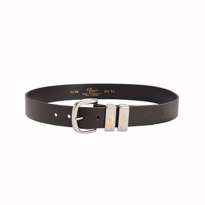 RM Williams 1.5″ Solid Hide Belt with 2 Engraved Silver/Gold Keepers